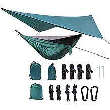 Mosquitera Hamaca + sombrilla, El paracaídas Tela de Nylon Ligero Hamaca Playa Viajes Senderismo Montañismo