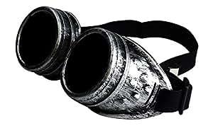 FashionLDN Steampunk Cyber-saldatura occhiali, Gruftistil, Cosplay, annata, rustico - Brush Silver