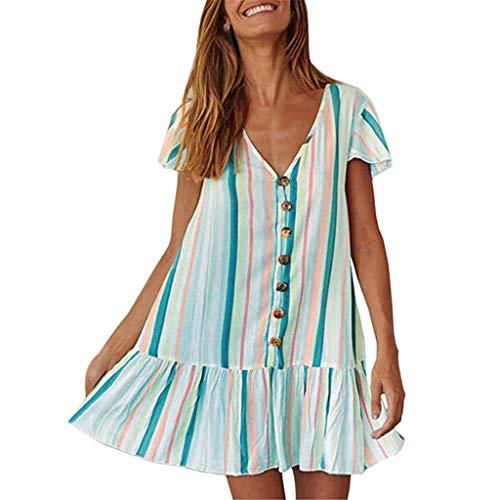 Amcool Kleider Damen Sommerkleider V Ausschnitt Lose Boho Mode Streifen drucken Strandkleid A Linie Ärmellos Tunika Swing Kleid Minikleid Mit Taste - Eine Taste Swing
