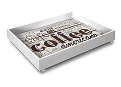 Idea Regalo - Vassoio da cucina in legno TRAY 30X40 cm COFFEE