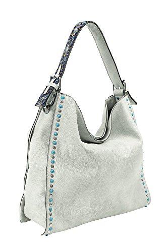 Emily & Noah - Elsa 60477, Beutel Handtasche mit Nieten und türkisfarbenen Steinen Damen Weiß