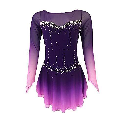 WGng Skating Königin Eiskunstlauf-Kleid, für Mädchen-Frauen-Eislauf-Wettbewerb Abschneiden Kostüm Strass Handgemachte Professionelle elastische atmungsaktiv,Child6