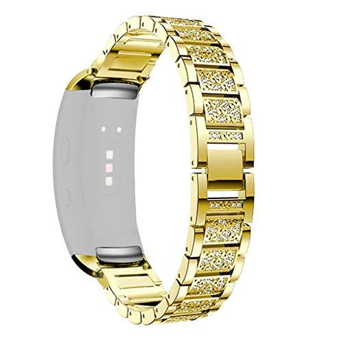 Für Samsung Gear Fit 2/ Fit 2 Pro Armband,JSxhisxnuid Damen Edelstahl Metall Strass Uhrenarmband Schmuck Armband Armreif für Samsung Gear Fit 2/ Fit 2 Pro (Gold)
