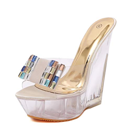 Plataforma de Las Mujeres Cuñas Sandalias Verano Cristal Transparente Peep Toe Tacones Altos Diapositivas...