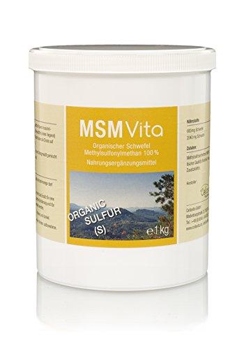 Preisvergleich Produktbild CELLAVITA MSM - Organischer Schwefel / pharmazeutischer Qualität Schwefel pur 99, 9% rein / MSM-Pulver (Methylsulfonylmethan) 16-Monatsvorrat 1000g