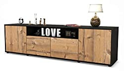 Stil.Zeit TV Schrank Lowboard Arianna, Korpus in Anthrazit Matt/Front im Holz-Design Pinie (180x49x35cm), mit Push-to-Open Technik, Made in Germany