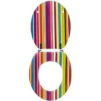 Wirquin 20717964 - Sedile WC Trendy Line, motivo funky righe multicolor
