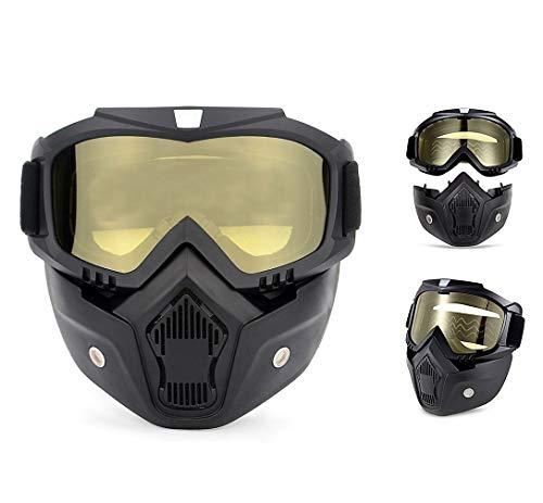 QYLT Motorrad Brille Maske Abnehmbaren Schutzbrille und Mund Filter für Open Face Helm Motocross Ski Snowboard Vintage Helme (DREI Farben optional)