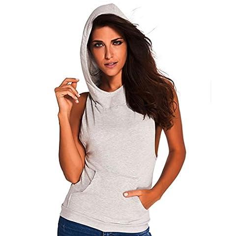 Bluestercool Sweat à Capuche Femme Sans Manches Dos Nu Hoodie Tops T-Shirt (S, Gris)