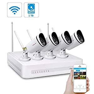 Foscam FN3104W Wireless CCTV System with 1TB Hard Drive - 4 Channel Network Video Recorder (NVR), 4x Outdoor IP Security Cameras 720P, Weatherproof, Night Vision, Motion Detection, Smartphone Viewing