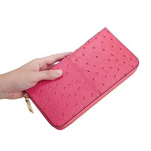 rnker Mehrzweck-Echtes Leder/Strauß Textur/Frauen Portemonnaie/Brieftasche/aufklappetui/Wristlet/Clutch Handtaschen Geldbörse/Handy Fall Fit Für iPhone 6, Galaxy S6, Alle Handys (Pink) (Brieftasche Handtasche Fall)
