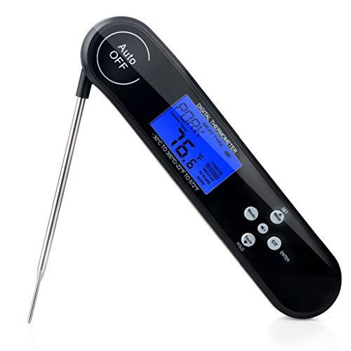 Elettrodomestico elettronico termometro per alimenti per uso domestico cucina digitale pieghevole barbecue barbecue cottura di carne termometri elettronici (color : black)