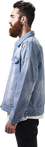 Urban Classics Herren Jacke Ripped Denim Jacket Blau (Bleached 00014)