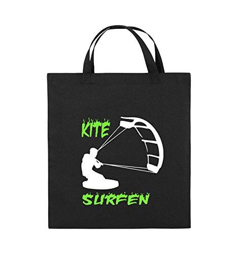 Comedy Bags - Kite Surfen - Motiv 3 - Jutebeutel - Kurze Henkel - 38x42cm - Farbe: Schwarz/Weiss-Neongrün