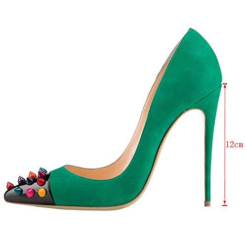 EKS Damen Fllosach Pointed-toe Dekoration Nieten Stilettos Ferse Partei Pumpen Schuhe EU 35-46 Green-Faux Wildleder