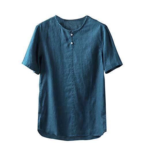 HHyyq Men's Long-Sleeved v Neck Shirt Plain Vintage Business Muscle t-Shirt Sports Fitness Training Wedding Tops Blouse Linen Regular Fit Button-Down Summer Long Sleeve and Short(Blau,XL) - Button-down-vintage-sport-shirt