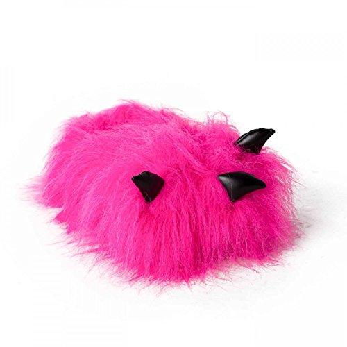 funslippers®, Kralle Tatze Tierhausschuhe pink Plüsch Hausschuhe Erwachsene und Kinder Monsterkrallen Bärentatze mit Gummisohle Größe 36-38 (Bigfoot Kinder Kostüm)