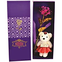Skylofts 22K Pink Roses with I Love You Teddy Bear Doll, Gift Box and Carry Bag - Best Valentine's Day Gift, Birthday Gifts Gold Dipped Rose