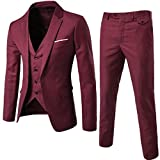 CuteRose Men Wedding Suits Relaxed Premium Fit Jacket Set 3-Piece Blazer Wine Red 3XL