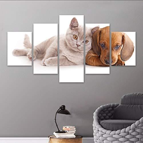 (Sin Marco) Cuadro Modular Lienzo Grande5 Panel Animal Gato Pintura Perro Impreso...