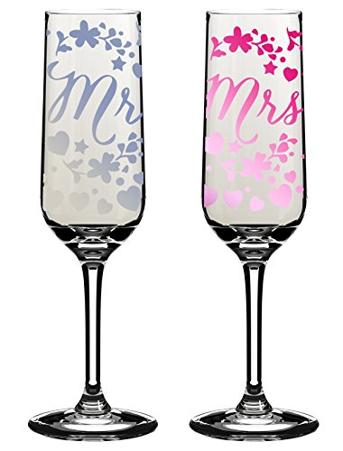 Mr & Mrs Wedding Day Champagne Flutes In Gift Box Lovely Glass Set