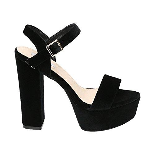 Slingback Heels (Damen Riemchen Abend Sandaletten High Heels Pumps Slingbacks Velours Satin Peep Toes Party Schuhe Bequem G7 (36, Schwarz 51))