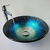 &zhou Azul de cristal templado en forma de sombrero lavado lavabo bambú, pop-de drenaje e instale el anillo de