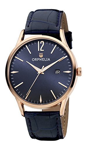 Orphelia Herren-Armbanduhr Modern Classic Analog Quarz Leder