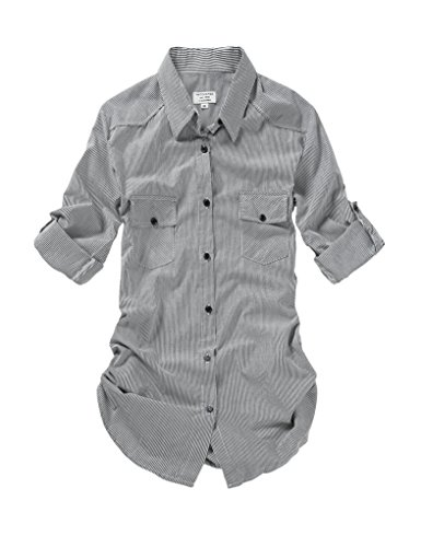 Match Damen Langarmhemd Flanell Karierte Bluse Plaid Shirt #B003(B003 Stripe,Large(Fit 38''-40''))