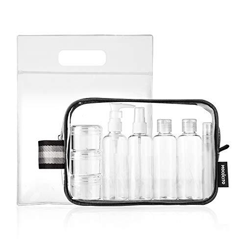 Mococito borsa da toilette viaggio trasparente con 8 bottiglie approvata secondo le regolamentazioni ue e uk sul bagaglio a mano | borsetta da trucco trasparente con zip (20x20cm)[nero]
