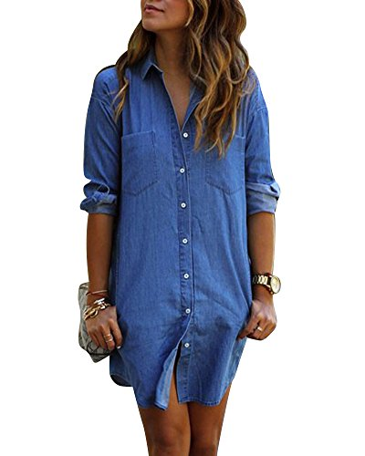 Donna mini denim jeans camicetta tasto pocket maniche lunghe wrap vestito camicia come immagine m