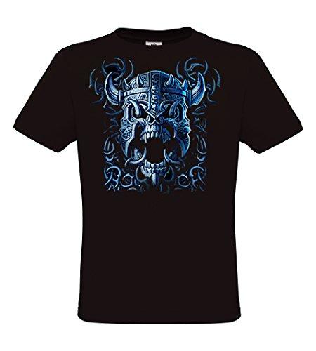 DarkArt-Designs Blue Viking Skull - Wikinger Schädel T-Shirt für Damen und Herren - Gothicmotiv Shirt Metal Biker Rocker Fun Party&Freizeit Lifestyle regular fit, Größe XXXL, schwarz (Krieger-schädel-t-shirt)