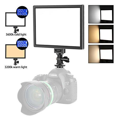 Neewer Luce Video LED Fotografico - SMD LED Pannello Luce da 3200K a 5600K Temperatura di Colore Variabile e Luce Dimmerabile, Ultra Sottile, T100 (Batteria non Inclusa)