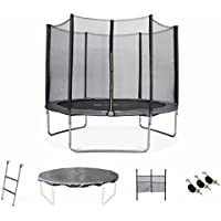 Alice's Garden - 10ft trampoline, safety enclosure, ladder, cover, storage net for shoes and anchor kit- Grey. Reinforced frame. Max user weight: 100kg / 200lbs. (150kg / 330lbs using the anchor kit)