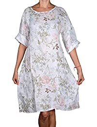 5d84d967ca5c5e Damen lang Pure Leinen Sommer Kleid Tunika 44 46 48 50 L XL XXL Weiß Blumen