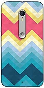 Snoogg Awesome Colour Chevron Designer Protective Back Case Cover For Motorola Moto X Style