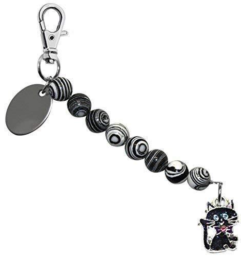 t Funkelnde Halloween Katze Schwarz & Weiß Perle Schlusselring / Handtaschen Anhänger in Geschenk Beutel BD7PL158 ()