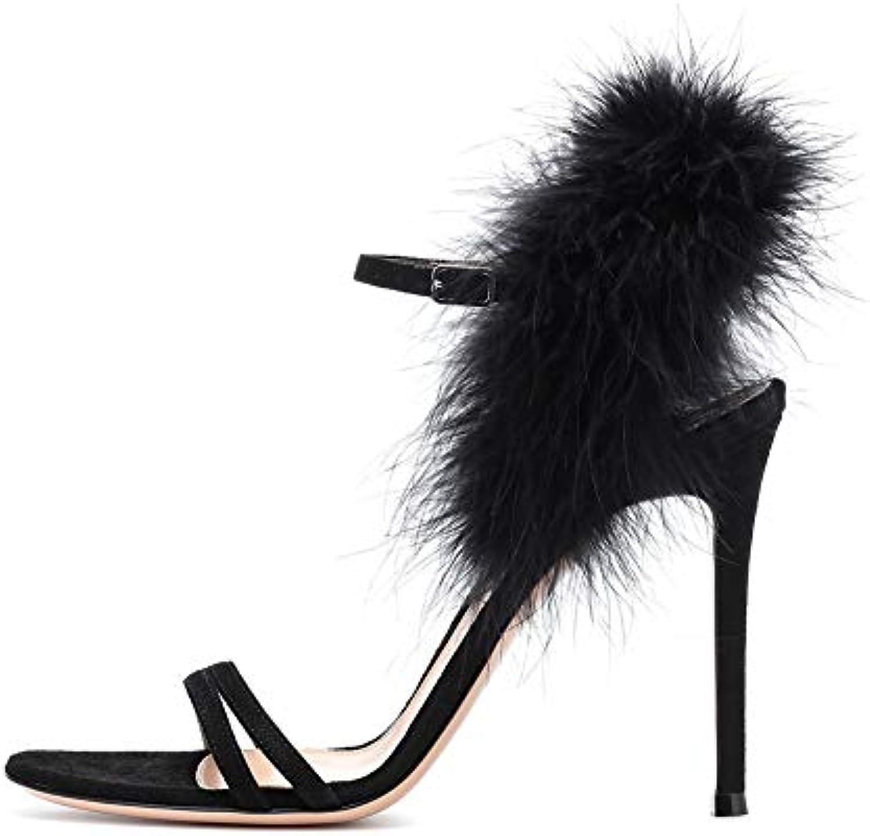 WHL.LL Da Da Da donna Cintura sottile Tacco alto sandali Cinturino alla caviglia felpa Decorazione Sottile tacco alto... | Miglior Prezzo  aaa305