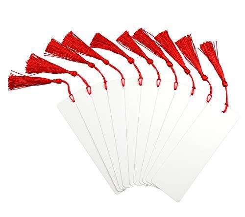 Makhry 100 Pezzi Importati Vintage Hard Carta Kraft Segnalibri Tag Regalo di Carta Bomboniera Boutonniere Favore con Nappe di Seta Fatte a Mano (Bianco + Rosso)