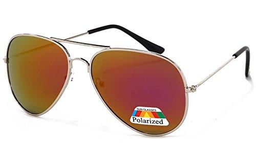 4sold Jungen Polarized Sonnenbrille Kids in vielen Farbkombinationen Klassische Unisex Sonnenbrille (Purple Polarized Mirror)