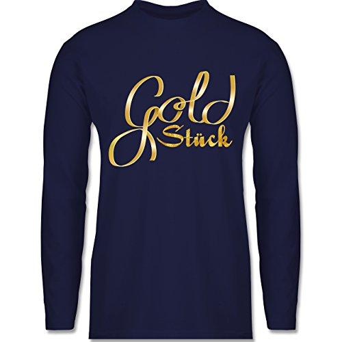 Statement Shirts - Goldstück - Longsleeve / langärmeliges T-Shirt für Herren Navy Blau