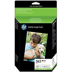 HP 363 Q7966EE pack de 6 avec 150feuilles de papier photo 100mmx150mm, pack photo Authentique, imprimantes HP PhotoSmart, cartouche d'encre Noir, Cyan, Magenta, Jaune, Cyan clair et Magenta clair