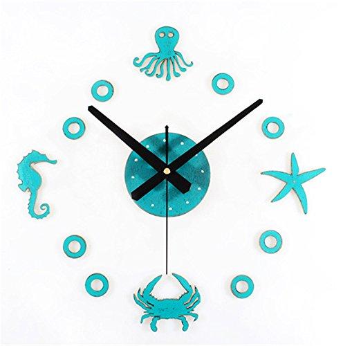 Wall clocks orologio da parete campana famiglia pendolo polpo granchio dell'ippopampo dell'oceano della stella marina di stile dell'oceano mediterraneo creativo diy orologio divertente muto della tavola verde