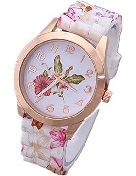 Vovotrade Uhren Damen Silikon gedruckt Blume Causal Quarz Armbanduhren(A)