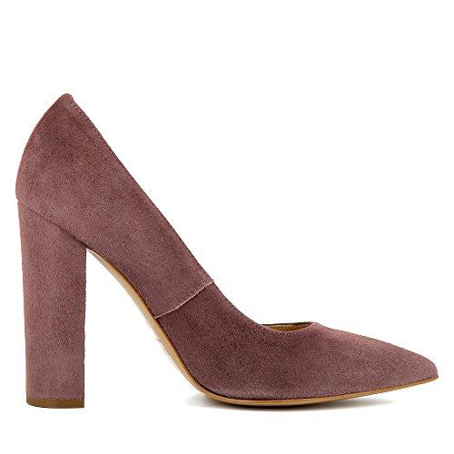 ALINA escarpins femme daim marron rouge