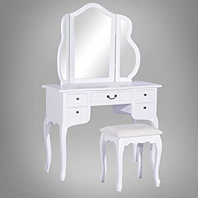 Homcom Dressing Table with Stool Mirror Make-up Hair Nail Drawers White Wood
