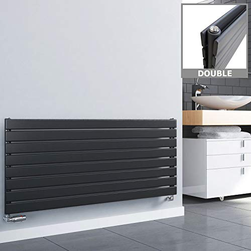 Novus-Designer-Heizkörper, horizontal,breiter Flachheizkörper,Weiß oder Anthrazit, grau