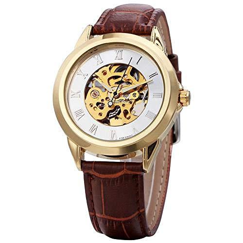 Orologi moda uomo cinturino in pelle meccanico automatico orologio con castone dorato numero romano scheletro orologi da polso