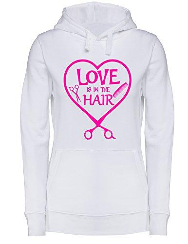 Love is in the Hair - Damen Hoodie Weiss/Neonpink