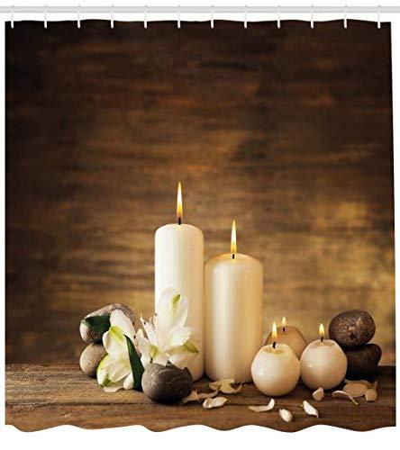 orhang, Valetines-Tag-Blumen, Waserdichter Stoff mit 12 Haken Set Dekorativer Farbfest Bakterie Resistet, 175 x 240 cm, Weiß schwarz und braun ()